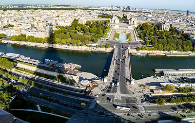 "The Seine River, Pont d'Iéna (""Jena Bridge""), and the shadow of the Eiffel Tower in Paris, France."