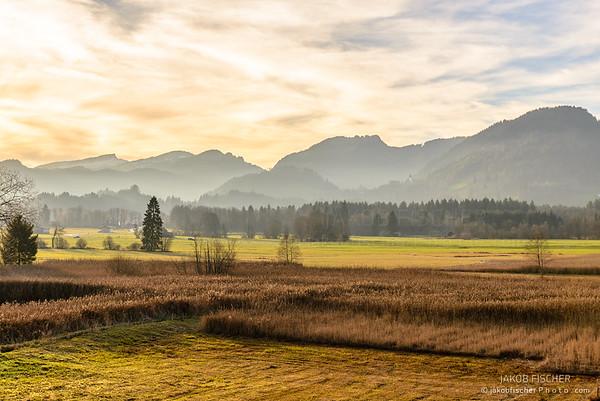 alpine landscape at sunset