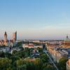 Skyline of Leipzig at sunset, Germany