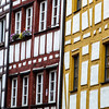 half-timbered colorful house