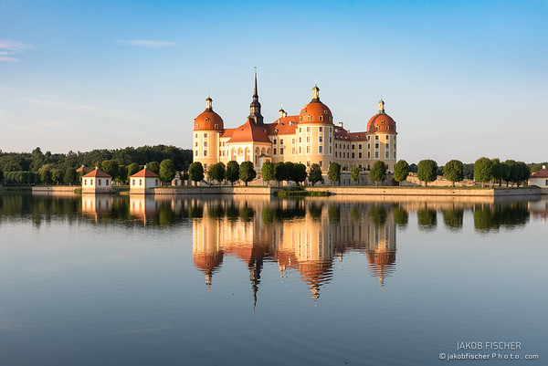 Moritzburg castle mirrored in the water