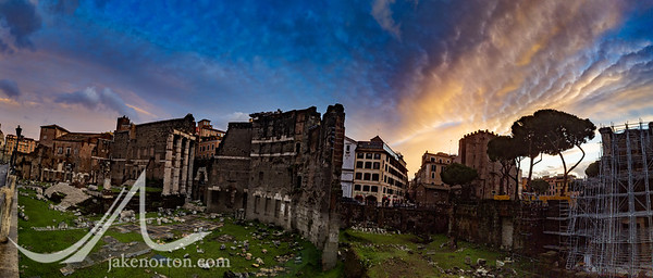 Ruins of the Roman Forum at sunrise, Rome, Italy.