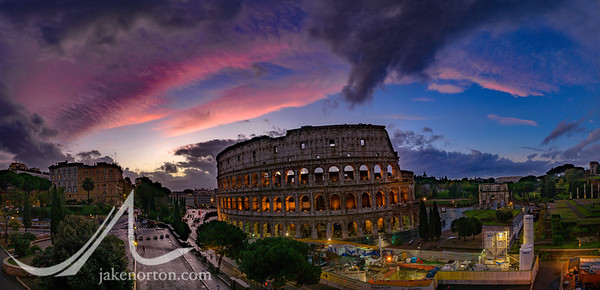 The iconic Colosseum at sunset, Rome, Italy.