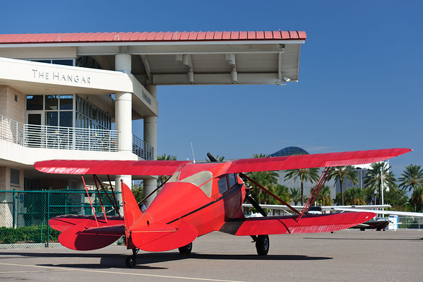 Old biplane parked at Whitted airport, St Petersburg, FL