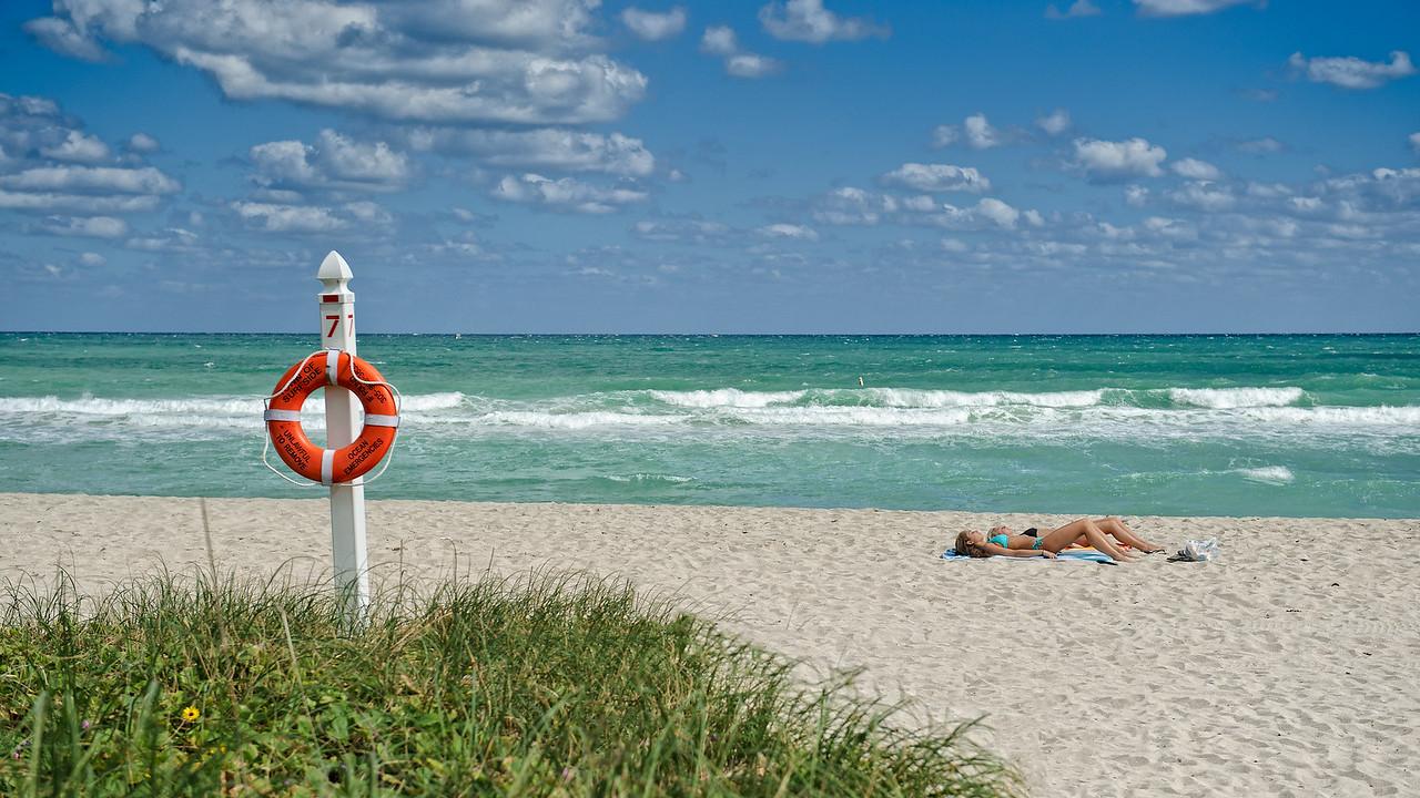 Getting a tan at Miami Beach