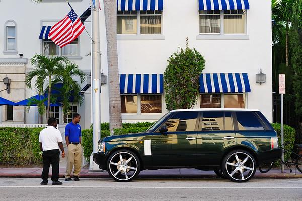 Admiring a Range Rover at Miami South beach