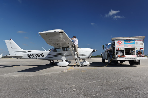 Refueling our Cessna 172 at Lantana airport, FL