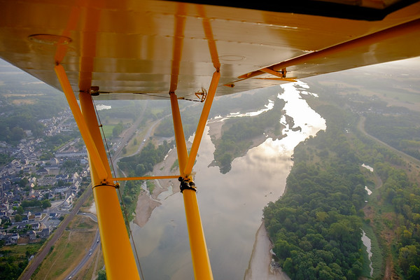 Flying over the river Loire