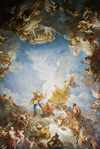 Apothèse d'Hercule (Apotheosis of Hercules) Palace of Versailles — Versailles, France — May 2009  Ceiling of le Salon d'Hercule, painted by François Le Moyne in 1736.  Apparently this is the largest canvas-painted ceiling in France/Europe (?).