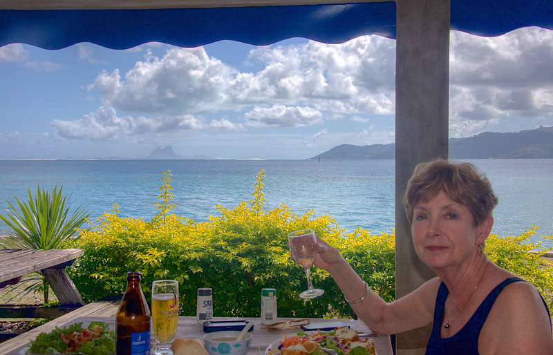 Back where we started – from the pre-embarkation lunch a week ago to a post-disembarkation lunch at the restaurant La Voile d'Or at the Apooiti Marina on Raiatea. That's the island of Taha'a over Faithie's shoulder, with Bora Bora rising 25 miles distant.  This entire sweep of land- and water-scape was our playground for the week!