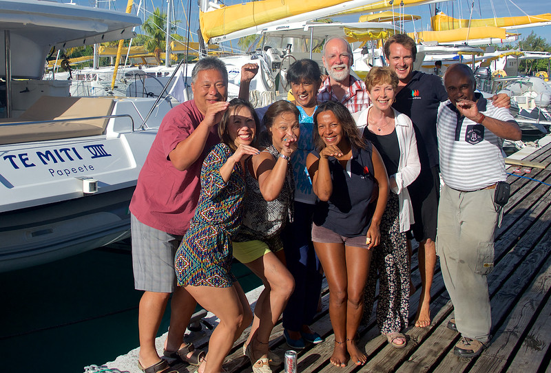 Crew and passengers of Te Miti VIII after a week of sailing in the South Pacific