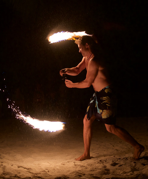Fire dance at Le Ficus – ...and weren't we surprised when Sylvain took an active role in the performance!