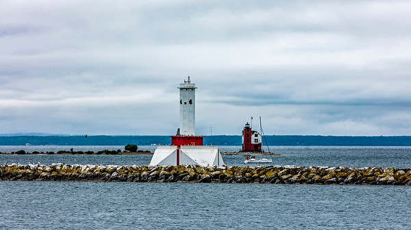 USA; Michigan; Mackinac Island; Mackinac Island Lighthouse; Round Island Lighthouse; Lake Huron
