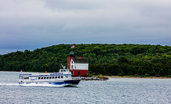 USA; Michigan; Round Island Lighthouse; Lake Huron; Mackinac Island