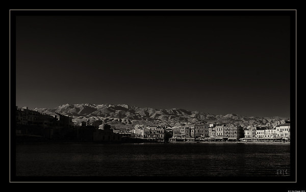 White Mountains seen from the Venetian harbor Chania, Crete;B&W;Black and White;Photography  Date:April 26, 2013  Camera: Full Spectrum converted Canon 40D Lens: Canon EF24-70 f2.8L Filter:Astronomik Proplanet 742 Clip-in Exposure: ISO 100, f11, 1/30 se
