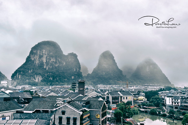 Yangshou city with endless of limestone mountains in the background (sunrise)