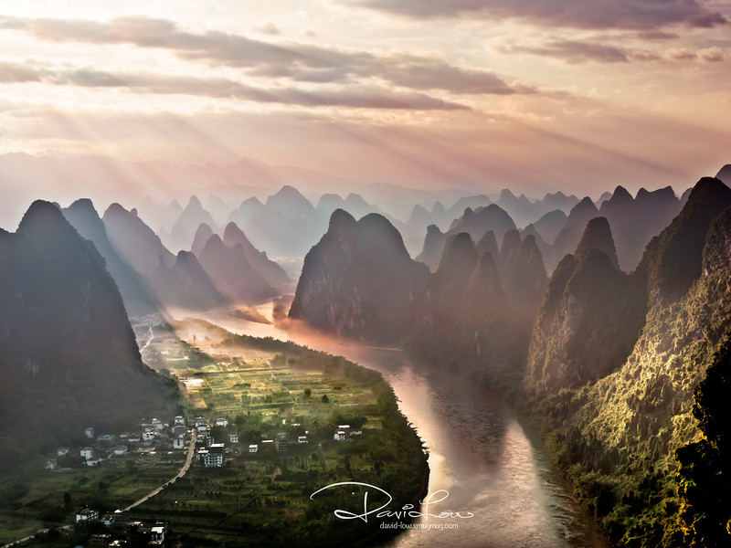 Sunrise in Yangshuo - The magical mountains with Li River snaking through.