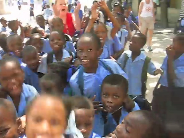 At the Good Shepherd school in Pele, Port au Prince Haiti. The school was founded by Charlie and Mary Scott in 1982. Photo taken by Mary Scott.