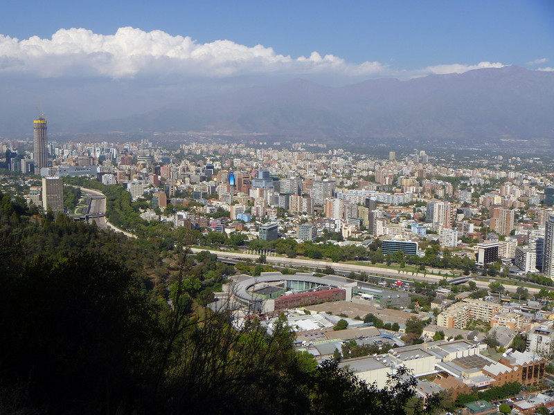 A slightly better view of the city and the Andes in the backdrop