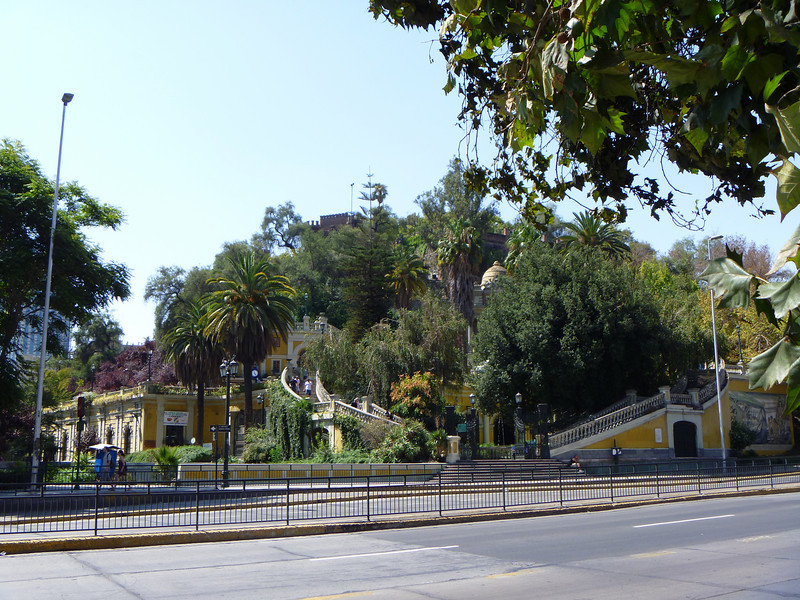 This is a view of the lower portion of Cerro Santa Lucia, if you walk up the stairs and keep going up, you'd arrive at Bateria Hidalgo ... a very old fortress