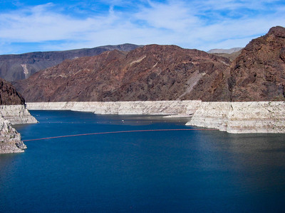 Hoover Dam is a concrete arch-gravity dam in the Black Canyon of the Colorado River, on the border between the US states of Arizona and Nevada.