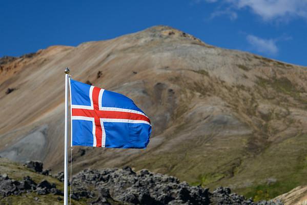 Icelandic flag at Landmannalaugar