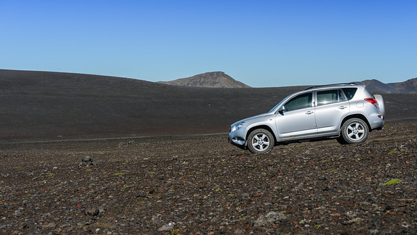 My car on a lava field
