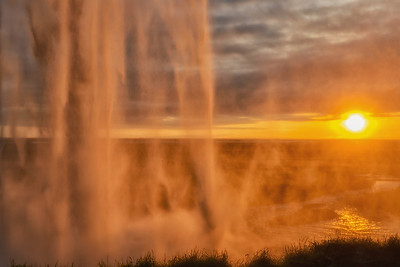 Seljalandsfoss from the backside at sunset