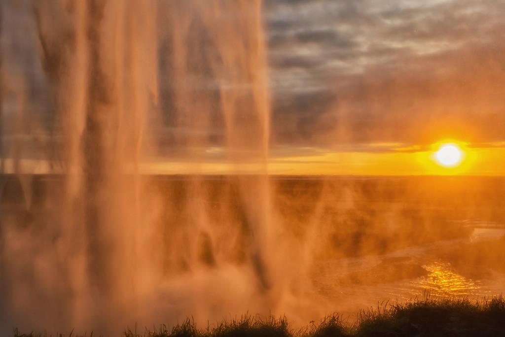 Seljalandsfoss from the backside at sunset
