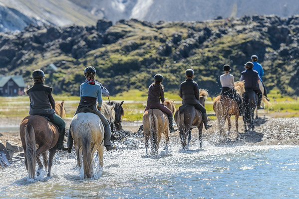River crossing by horse, Landmannalaugar