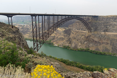 Perrine Memorial Bridge. 1,500 feet (457 m) in length, with a main span of 993 feet (303 m) and a deck height of 486 feet (148 m) above the Snake River. Opened in 1927.