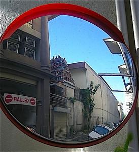street side traffic mirror in Kuala Lumpur