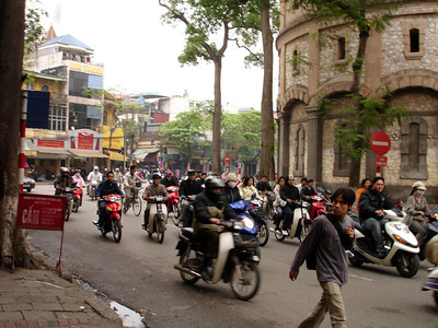 motercycle street traffic, Hanoi