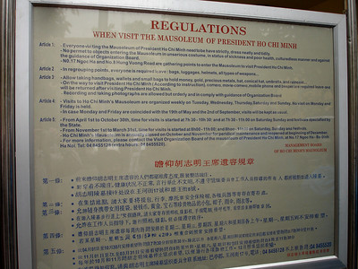 Regulations when you visit the Mausoleum of President Ho Chi Minh, Hanoi