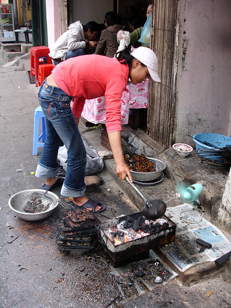 grilled meat street vendor, Hanoi