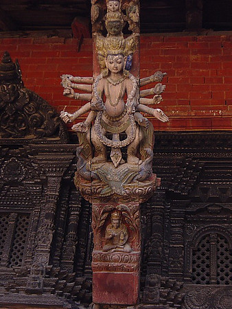 carved painted wooden roof braces, Kathmandu
