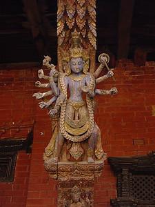 carved painted wooden roof braces, Kathmandu