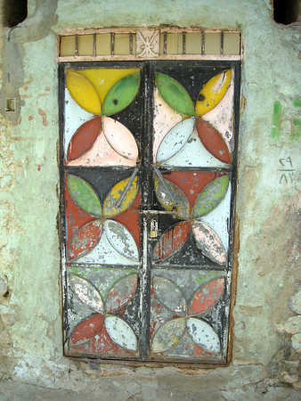 old painted metal door