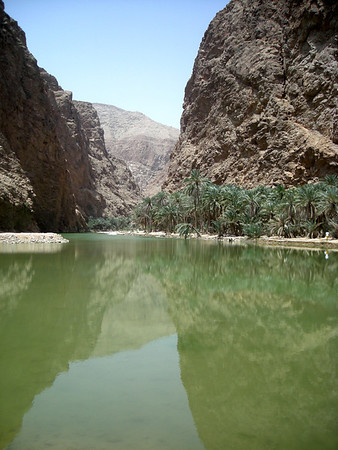 at the entrance to Wadi Shab near the Indian Ocean