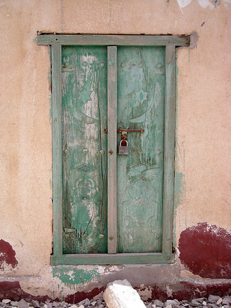 a door in the village of Tiwi, Oman