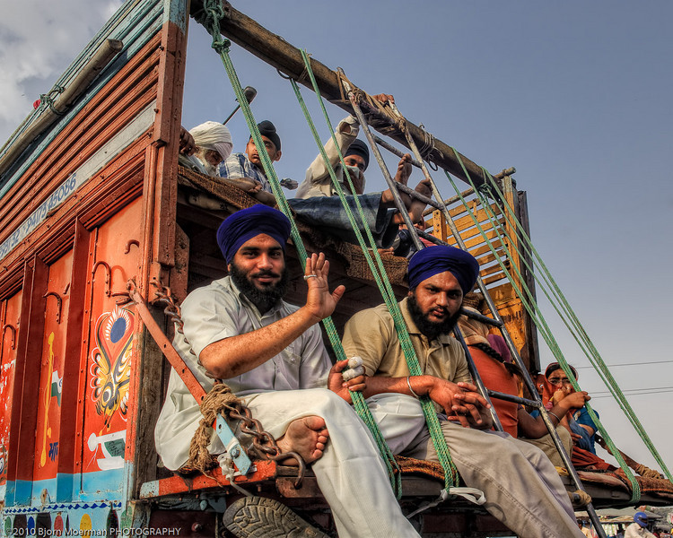 Family of Sikh's travelling in a truck between Delhi & Agra
