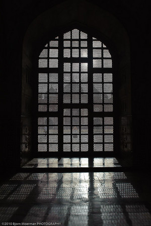 Window light inside Taj Mahal, Agra