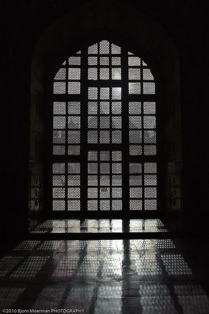 Window light inside Taj Mahal, Agra