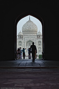Main gate at Taj Mahal at sunrise