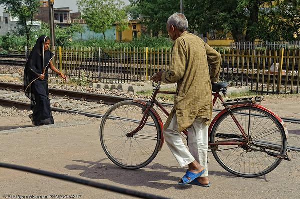 Crossing railway track in Mathura