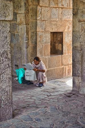 Reading the paper at Qutb Minar, Delhi