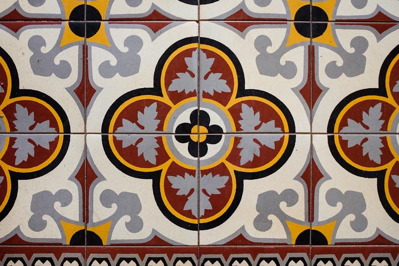 Interior floor tiles. Architecture in the Moshava (former German Colony), Jersualem