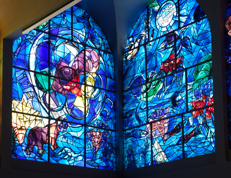 Benjamin and Reuben. The Chagall windows at the Hadassah Hospital synagogue, Ein Kerem, Jerusalem