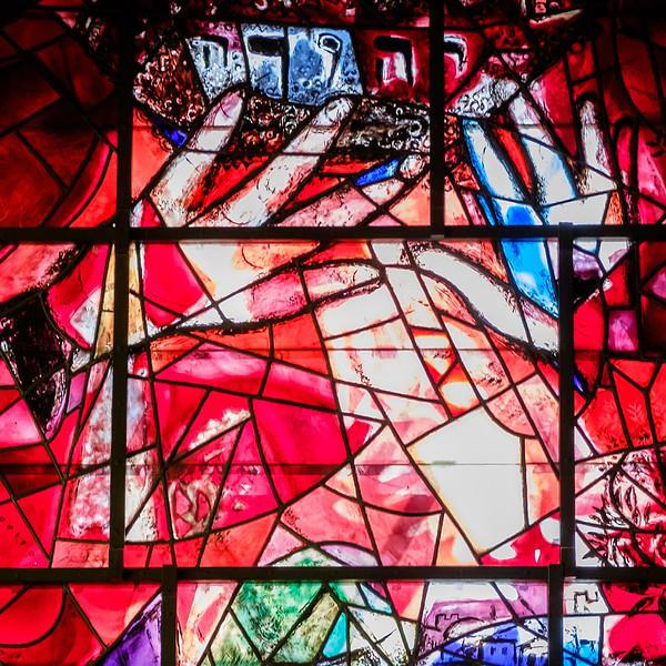 Judah. The Chagall windows at the Hadassah Hospital synagogue, Ein Kerem, Jerusalem