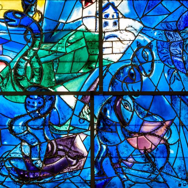 Dan. The Chagall windows at the Hadassah Hospital synagogue, Ein Kerem, Jerusalem